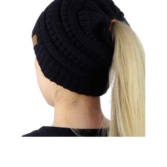 aad5791344f6ab Accessories | Cc Beanietail Cable Knit Messy Bun Beanie New | Poshmark